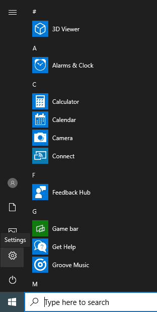 Go to start menu to click Settings