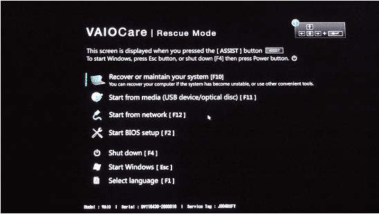 Ouverture du VAIO Care Rescue Center pour formater l'ordinateur portable Sony VAIO