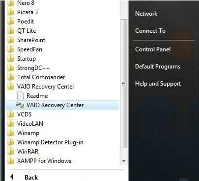 Open VAIO Recovery Center on Sony Vaio laptop
