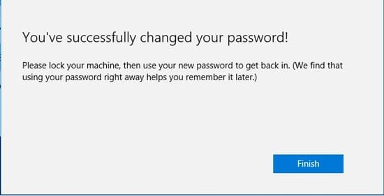password change was successful on Microsoft account