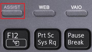 Drücken Sie die Assist-Taste für das Sony Vaio-Laptop-Format