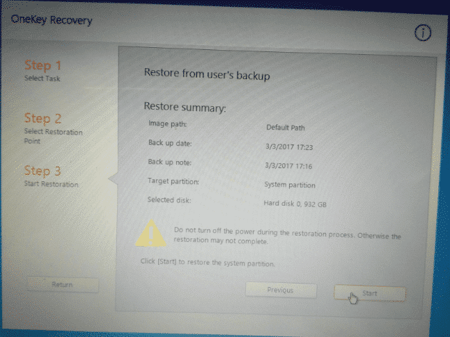 Read The Restore Summary And Click Start on Lenovo Onekey Recovery