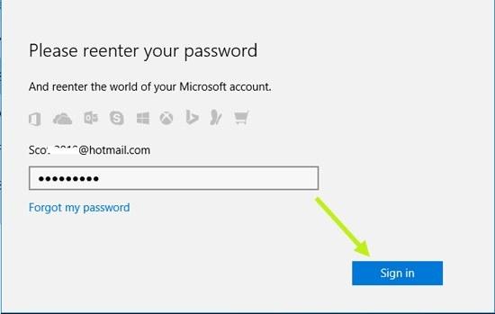Geben Sie das Passwort ein, um das Microsoft-Passwort zu ändern