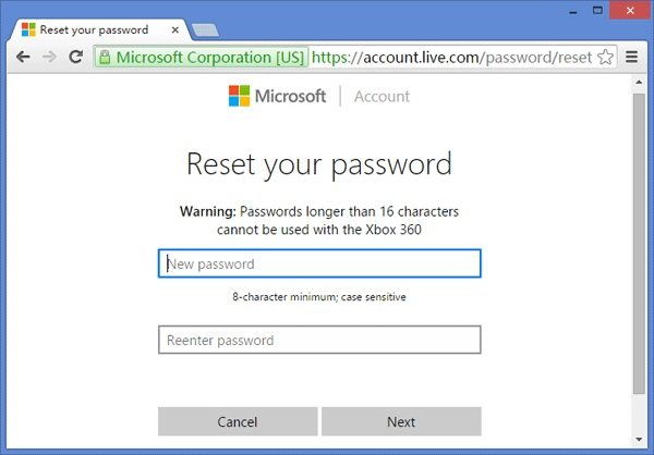 reset Microsoft account password online