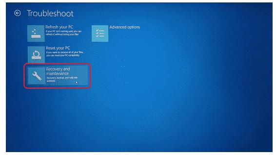 Wählen Sie Wiederherstellung und Wartung, um den Sony-Laptop zu formatieren