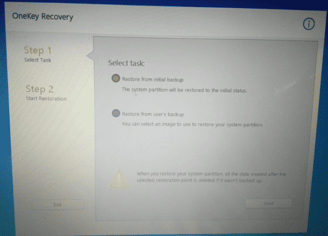 Select Restore From Initial Backup on Lenovo Onekey Recovery