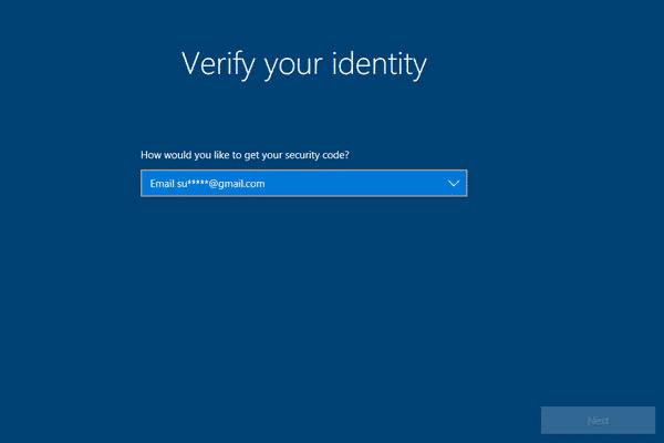 Sélectionnez l'option d'envoi de code