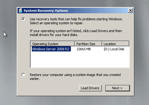 select the Windows Server 2008 installation