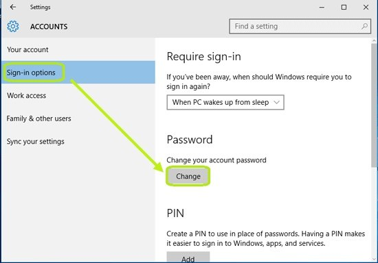 sign in options to click on change button to reset Microsoft password