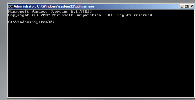 start a Command Prompt window to reset Windows server 2008 password