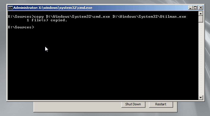 type command code guide to reset windows server 2008 password