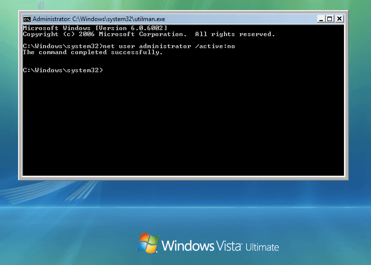 Type command to deactivate the Administrator account on Windows Vista