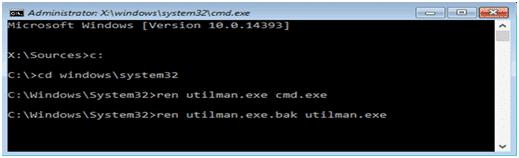 tapez les commandes pour réinitialiser le mot de passe d'ordinateur portable Gateway