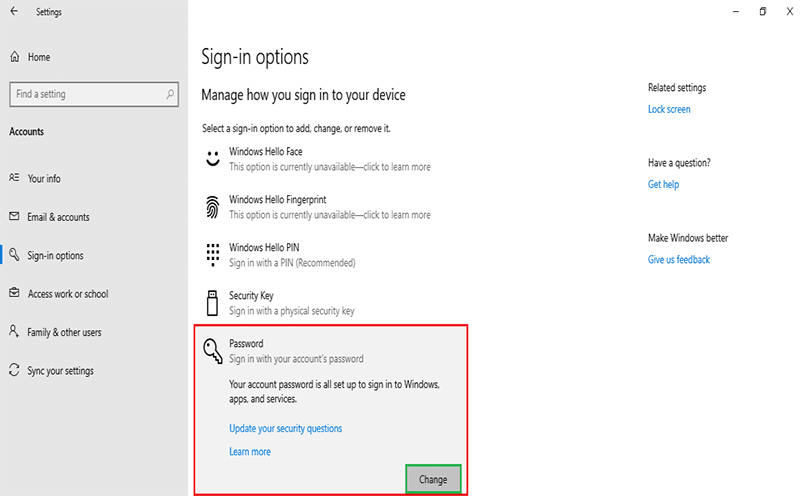 Under the Password section click Change to skip login screen Windows 10
