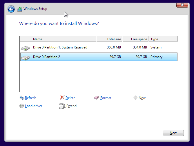 2 partitions in Windows 8 setup
