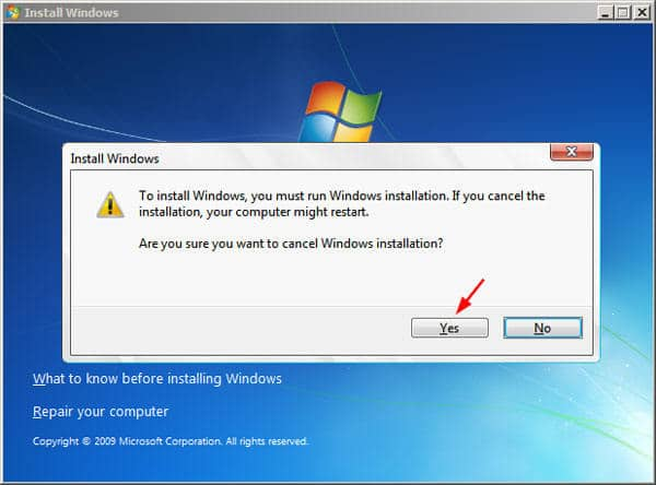 Cancel the Installation of Windows 7