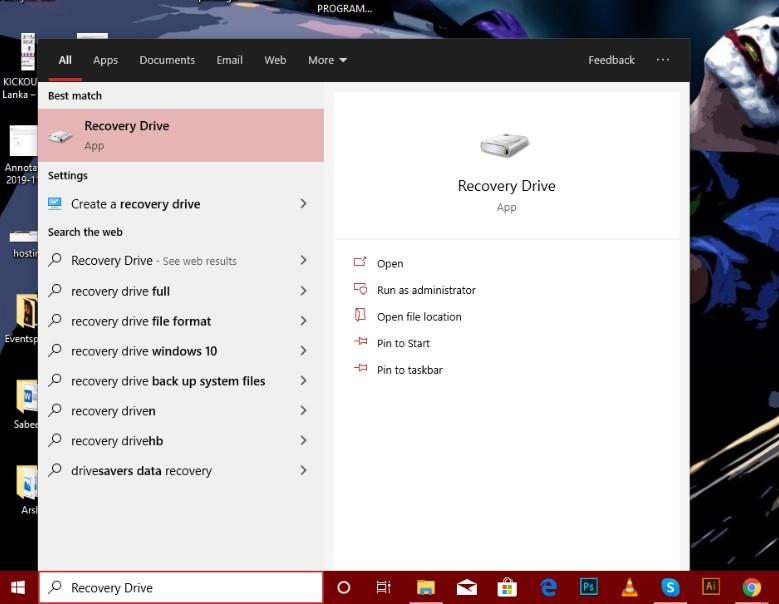 "choose ""Recovery Drive"" to create HP Recovery Disk"