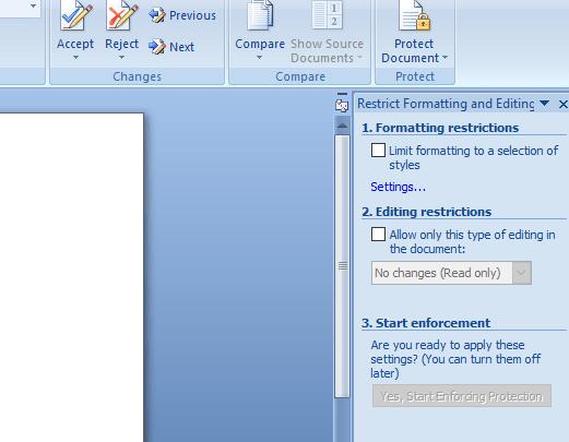 cliquez sur l'option Restrict Formatting pour déprotéger le fichier word