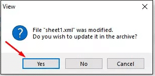 click yes to confirm to unprotected excel file