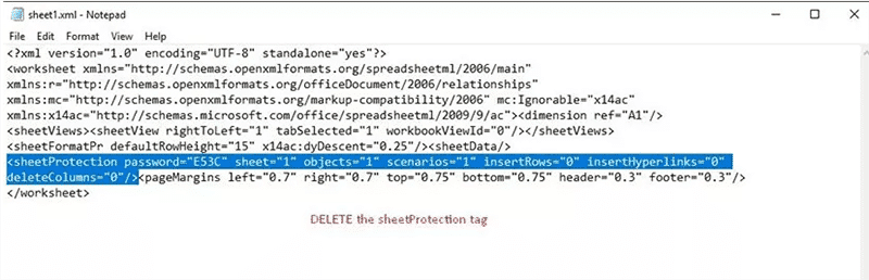 delete the sheetprotection tag to unlock excel file