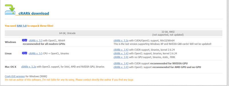 cRARk zum Entschlüsseln des WinRAR-Passworts herunterladen