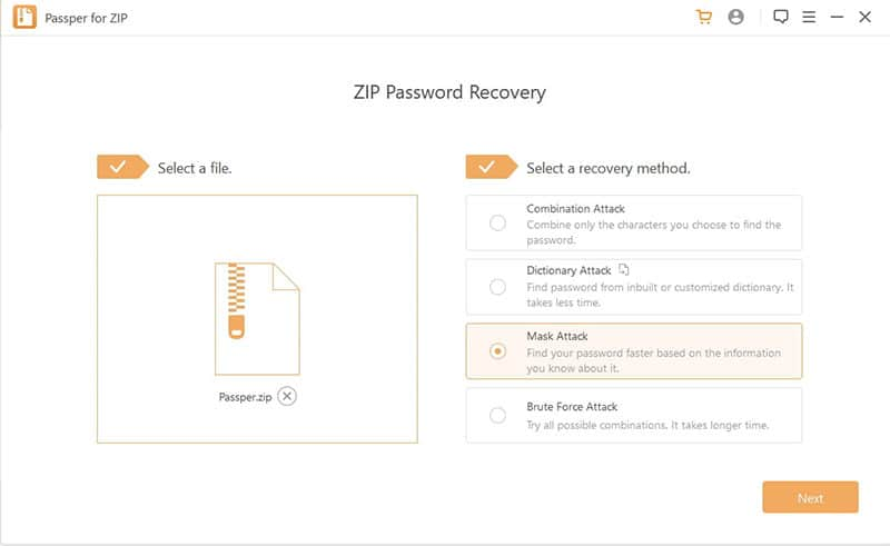 select an attack mode to remove zip password