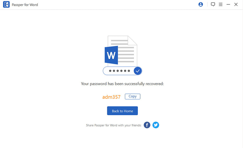 mot de passe du fichier ms word récupéré par passper for word