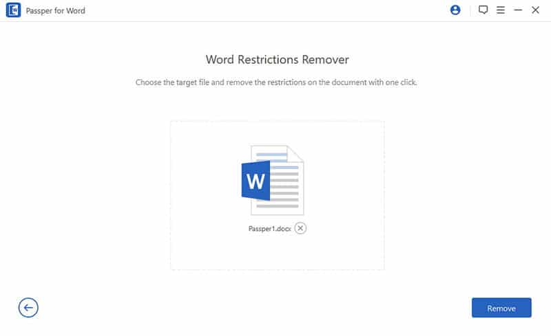 press remove to continue the removal of word document password