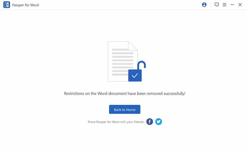 remove password from Word document successfully