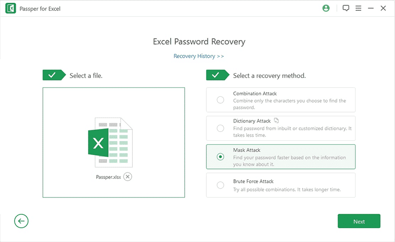 select desired recovery mode to unlock excel password