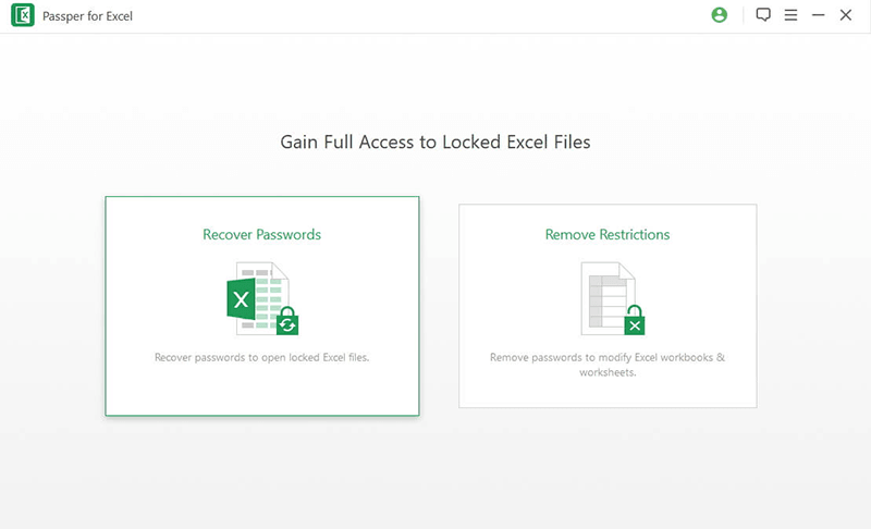 choose Excel Password Recovery Mode to break Excel password