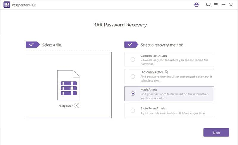 select the type of recovery to hack rar password