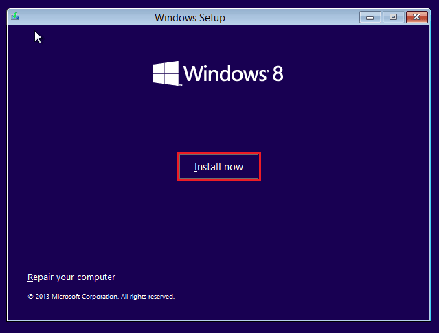 Hit the Install now button in Windows 8.1