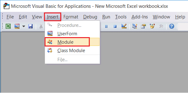 choose the Module option to unlock excel password