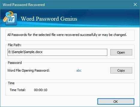 isunshare word password recovered