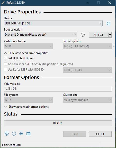 Starten Sie Rufus, um das Windows 8.1-Kennwort ohne Festplatte zurückzusetzen