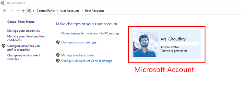 logged in through Microsoft account screenshot