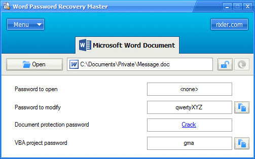 MS Word password recovery Master