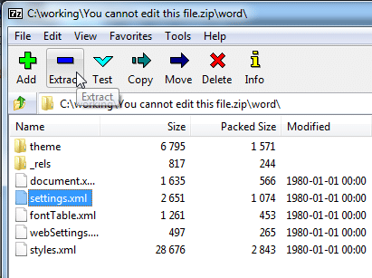 Navigate to the settings.xml file and right-click on it to remove word password