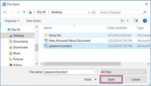 open password protected word document