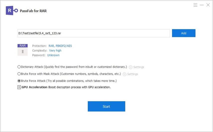 Wählen Sie den Angriffsmodus für die RAR-Passwortwiederherstellung