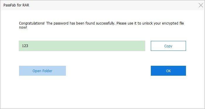 PassFab for RAR successfully recover RAR password