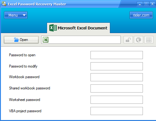 Rixler Excel Password Recovery Master