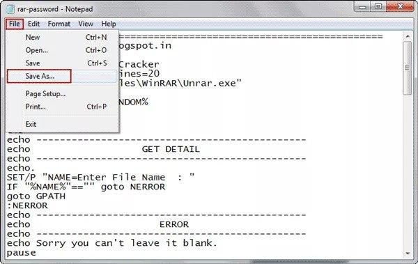 create a file with Notepad containing the password protected ZIP file