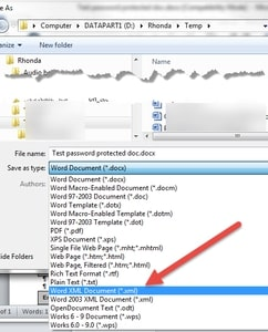 save password protected Word file as xml