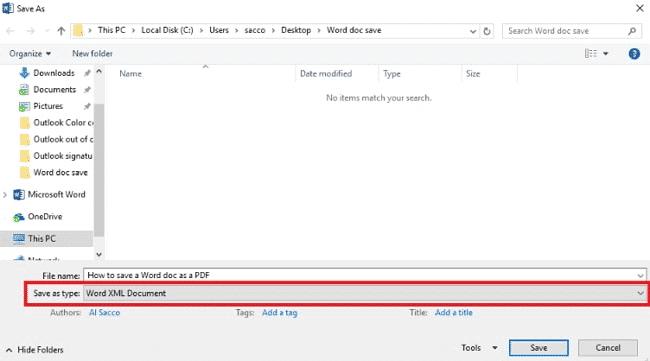 Enregistrez le fichier en tant que fichier XML pour déverrouiller le fichier Word