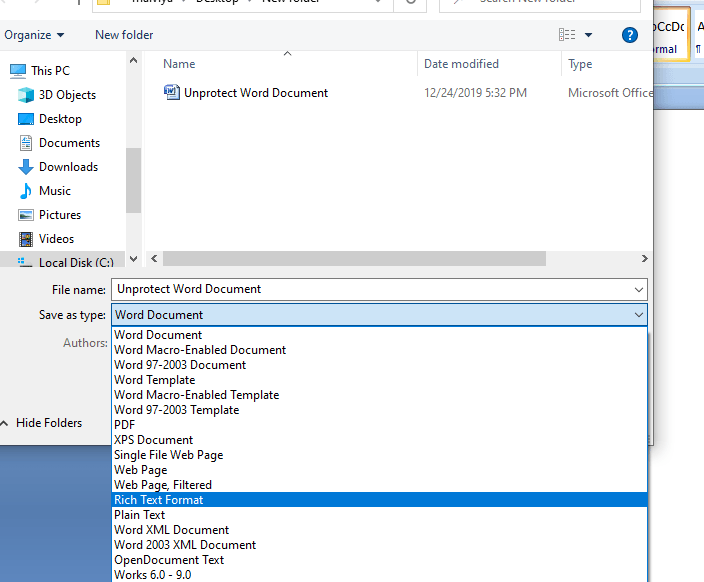Save word as rich text format