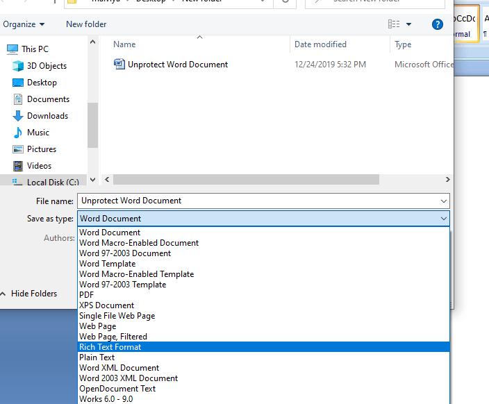 Enregistrer le mot en format texte riche