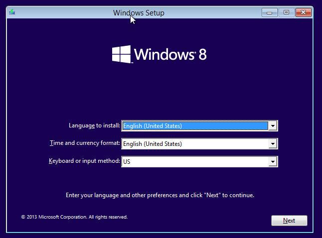 select the appropriate option to install Windows 8.1