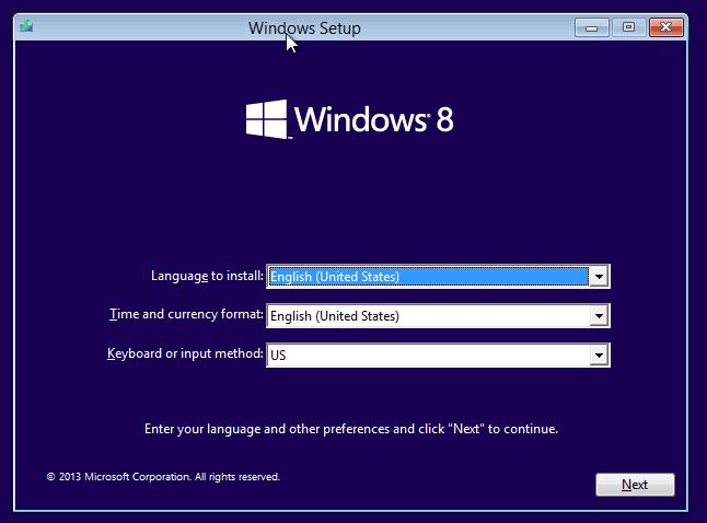 Wählen Sie die entsprechende Option zum Installieren von Windows 8.1